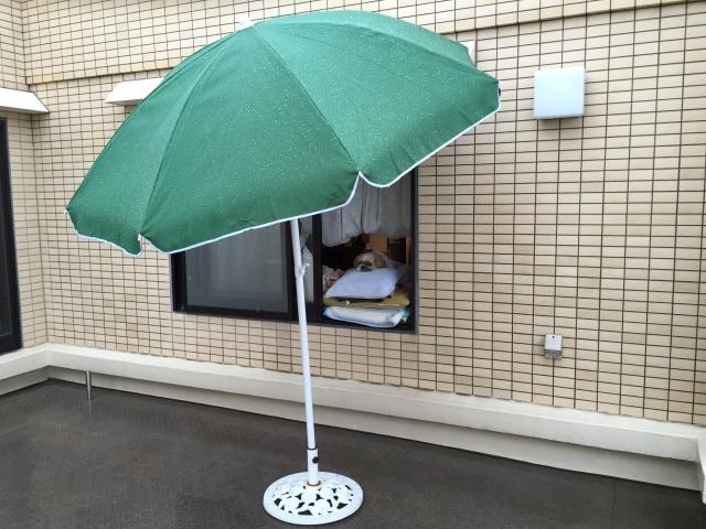 雨の日はパラソルで